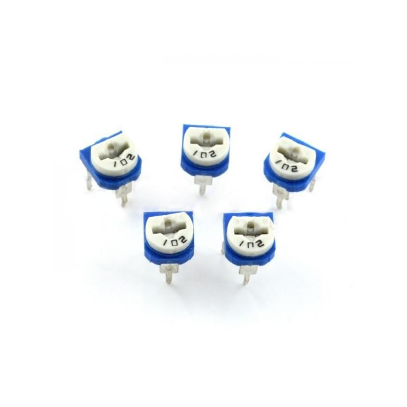 Potencjometr montażowy leżący 100kΩ - 5szt.