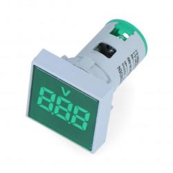 Woltomierz cyfrowy - LED 32x32mm - 500VAC - zielony