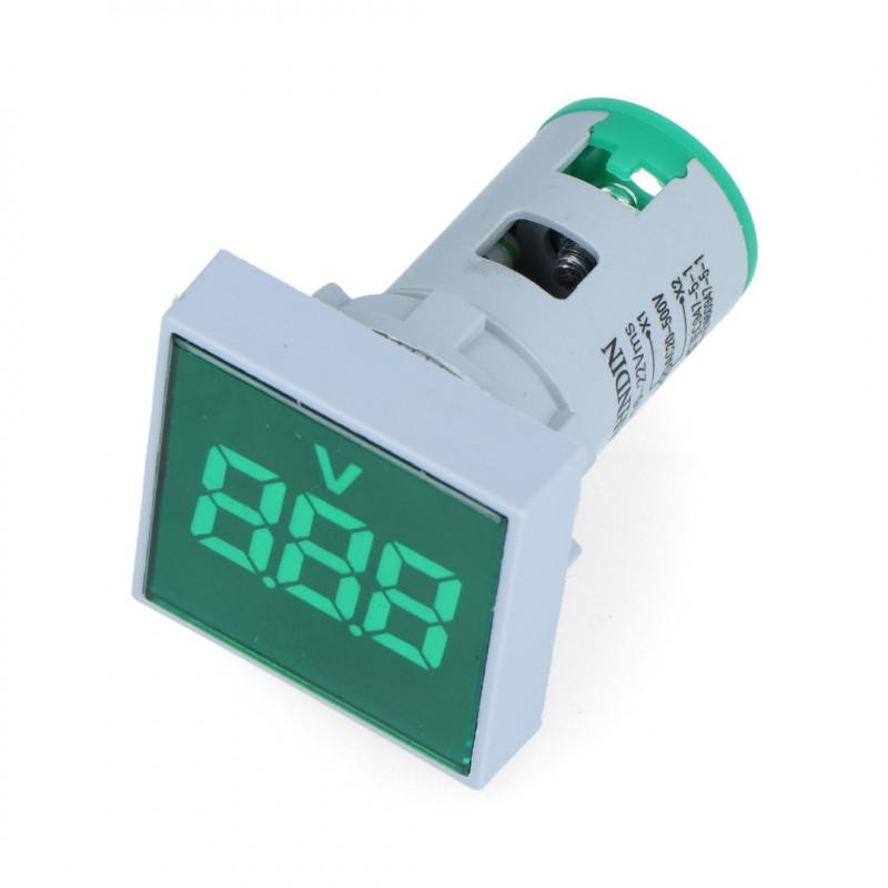 Digital voltmeter - LED 32x32mm - 500VAC - green_