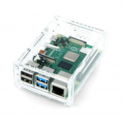 Case Raspberry Pi Model 4B with camera mount - transparent