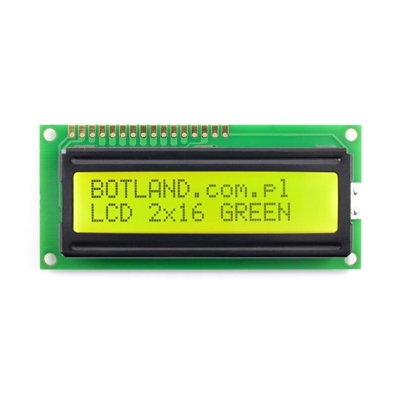 Wyświetlacz LCD 2x16 znaków zielony