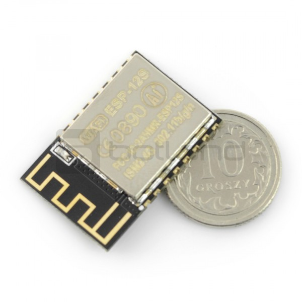WiFi module ESP-12S ESP8266 Black - 9 GPIO, ADC, PCB antenna*