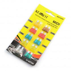 Zestaw bezpieczników samochodowych Midi 5-30A - 10szt.