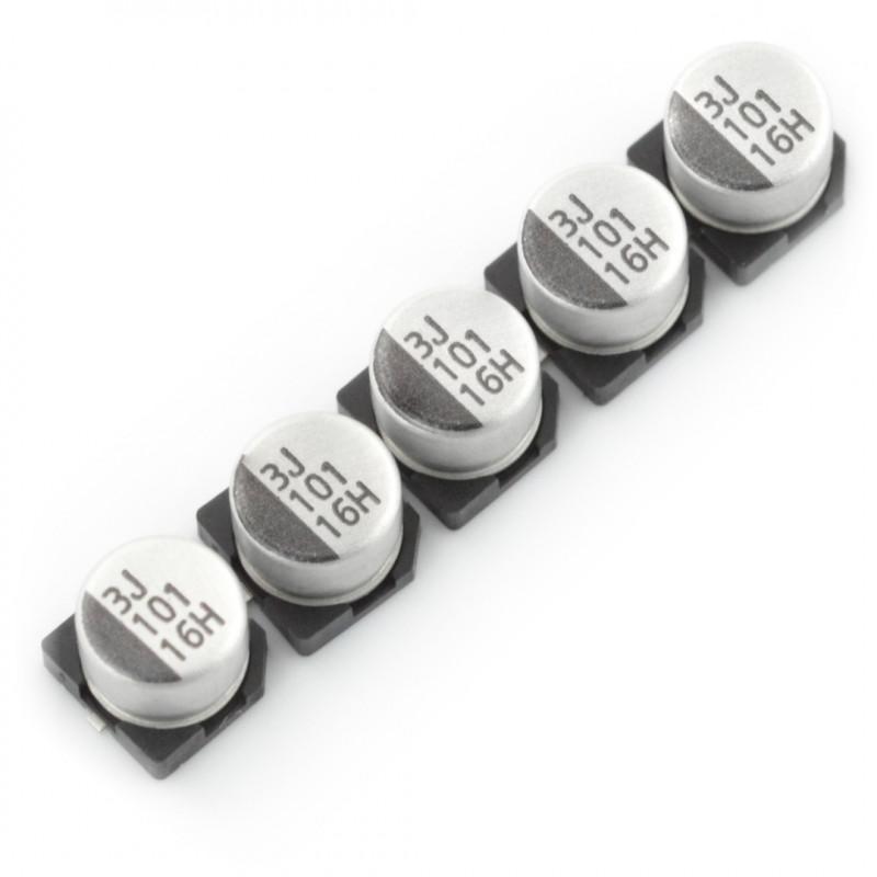 Electrolytic capacitor 100uF/16V SMD - 5pcs*