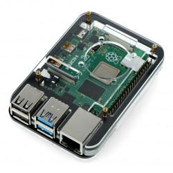 Obudowa Raspberry Pi Model 4B/3B+/3B/2B - czarno-przezroczysta - LT-4B05