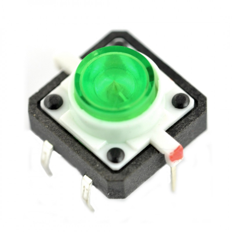 Tact Switch 12x12, 7mm THT 6pin - green backlight*