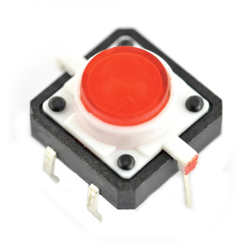 Tact Switch 12x12, 7mm THT 6pin - red backlight*