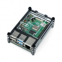 Case for Raspberry Pi Model 4B/3B+/3B/2B - black-transparent LT-4B06