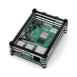 Case for Raspberry Pi Model 4B - black-transparent LT-4B06