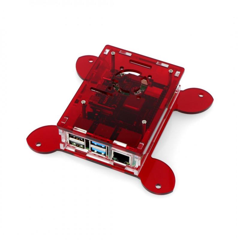 Obudowa do Raspberry Pi 4B Vesa do montażu na monitor - czerwona - LT-4B17