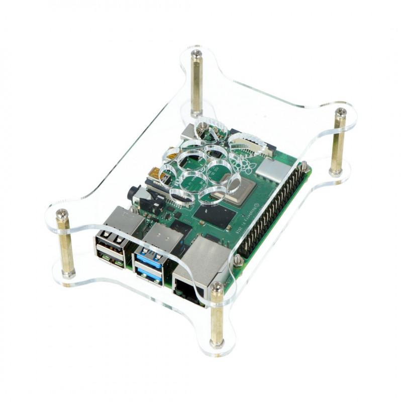 Obudowa do Raspberry Pi 4B/3B+/3B/2B - otwarta przezroczysta - LT-4B20