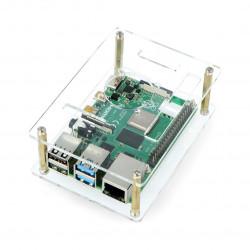Obudowa do Raspberry Pi Model 4B/3B+/3B/2B otwarta przezroczysta - LT-4B21
