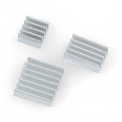 Zestaw radiatorów do Raspberry Pi z taśmą termoprzewodzącą - 3szt.