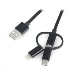 Przewód Lanberg 3w1 USB typ A - microUSB + lightning + USB typ C 2.0 czarny PCV - 1,8m