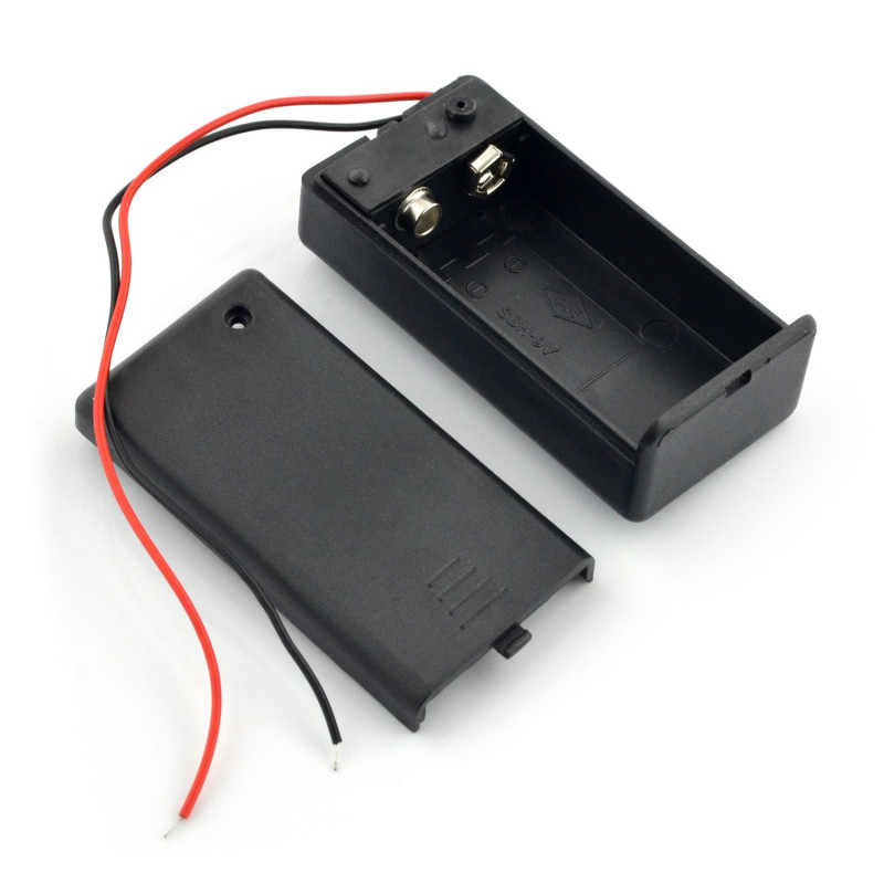 Battery storage case for 1 pack 9V (6F22) with cover and switch