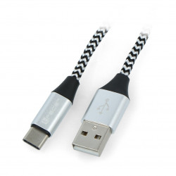 TRACER USB cable Type A-C 2.0 black - silver braid - 1m