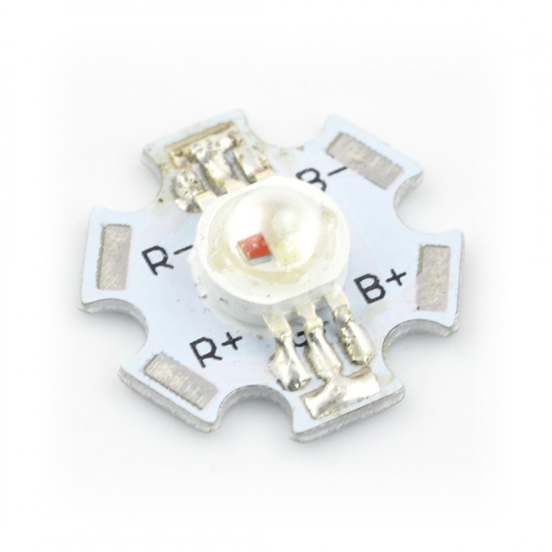 Power LED Star 3W LED - RGB with heat sink_