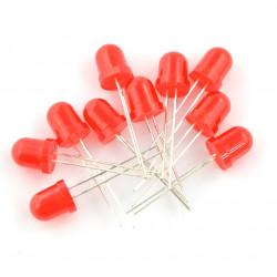 Dioda LED 8 mm czerwona - 10 szt.
