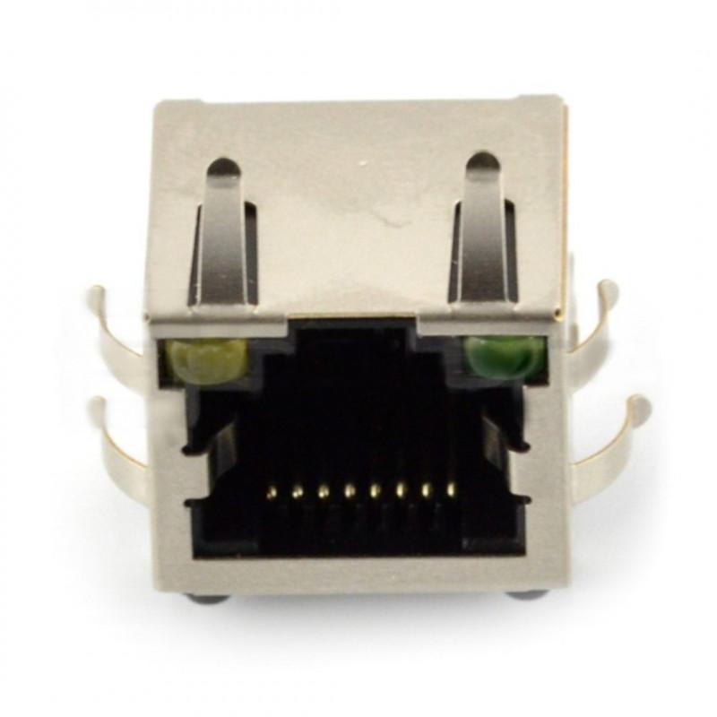 Gniazdo sieciowe 8P8C RJ45 ekranowane z diodami LED