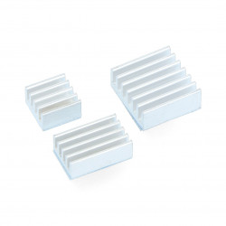 Set of heat sinks for Raspberry Pi - silver with heat transfer tape - 3pcs.