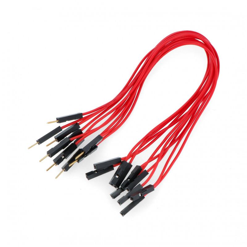 Przewody połączeniowe żeńsko-męskie 20cm czerwone - 10szt.