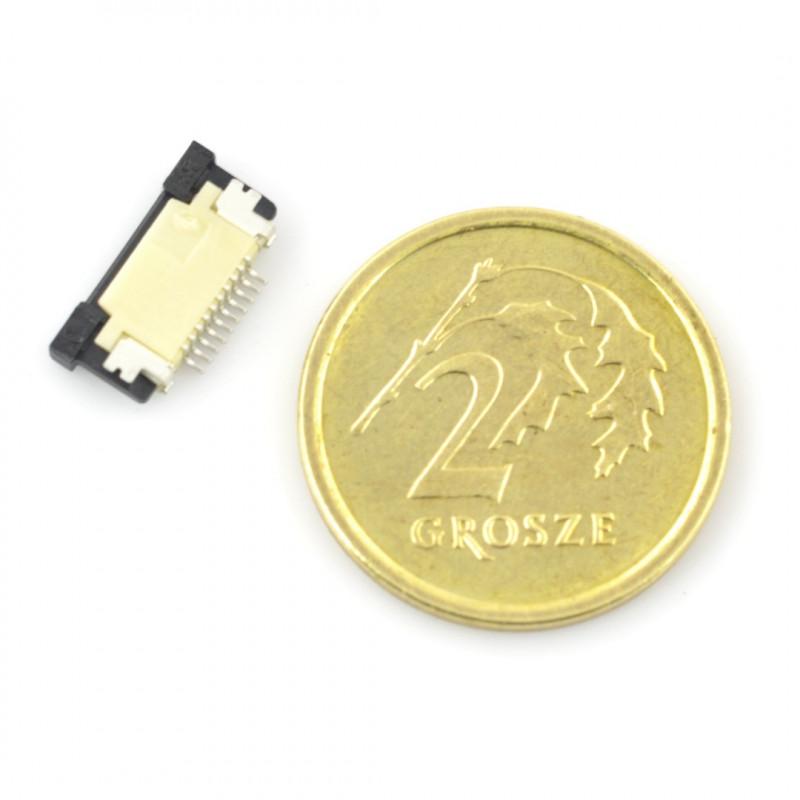 Złącze żeńskie ZIF, FFC/FPC, poziome 10 pin, raster 0,5 mm, górny kontakt