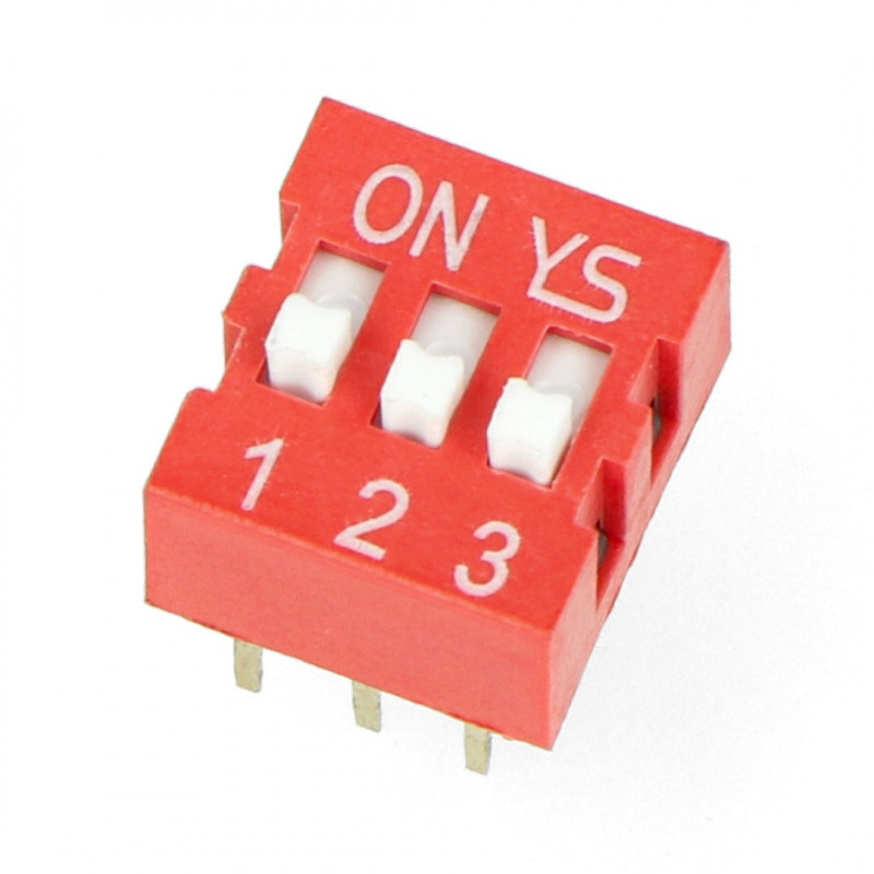 DIP switch 3-pole - red*