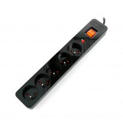 Power strip with protection Acar X5 blak - 5 sockets- 1,5 m
