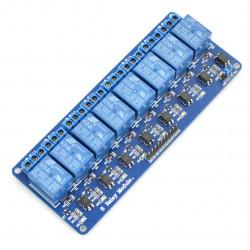 Ośmiokanałowy moduł przekaźników RM10 12V z izolacją optoelektroniczną 10A/125VAC niebieski