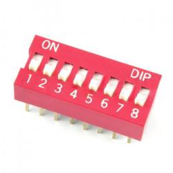 Przełącznik DIP switch 8-polowy - czerwony