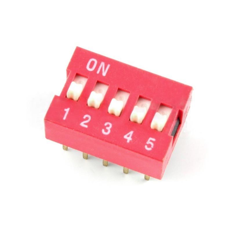 Przełącznik DIP switch 5-polowy - czerwony