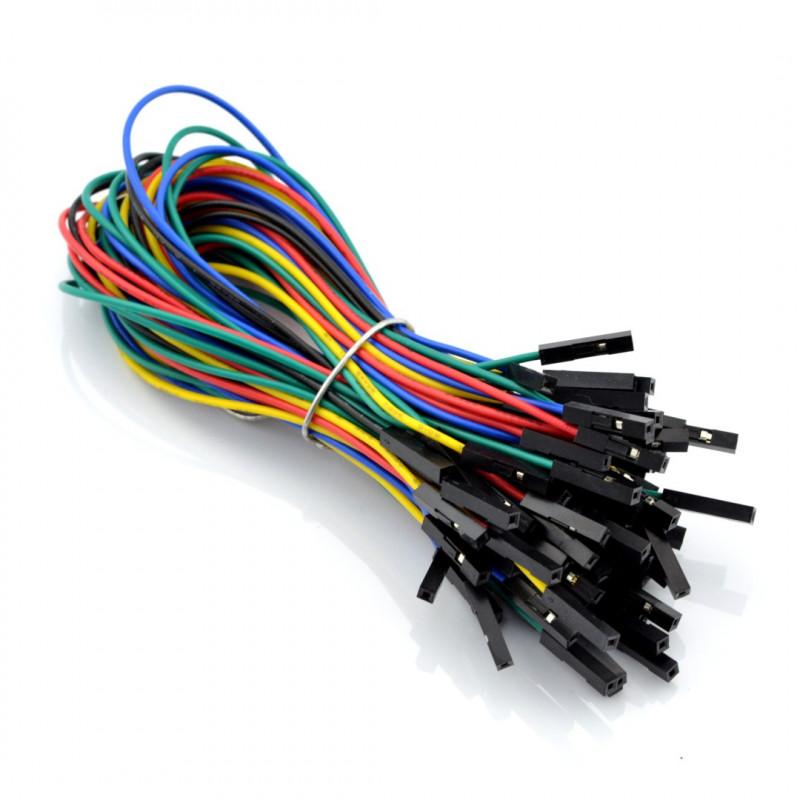 Przewody połączeniowe żeńsko-żeńskie 20cm kolorowe - 50szt.