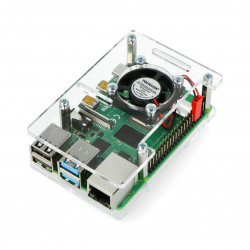 Obudowa do Raspberry Pi Model 4B/3B+/3B/2B otwarta z wentylatorem - przezroczysta