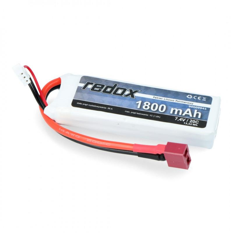 Pakiet Li-Pol Redox 1800mAh 20C 2S 7.4V