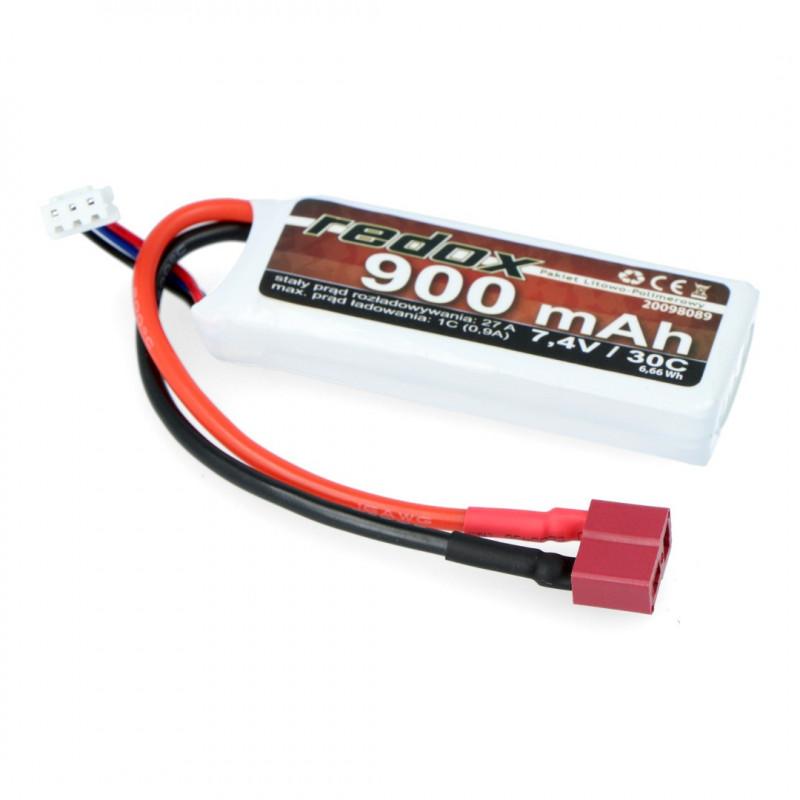 Redox Li-Pol battery pack 900mAh 30C 2S 7.4V