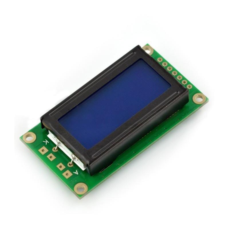 Wyświetlacz LCD 2x8 znaków niebieski