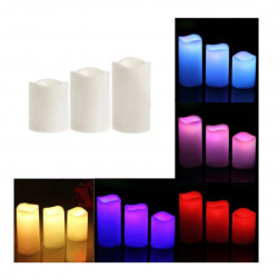LED plastic candles Set - candles 3 pcs + Pilot