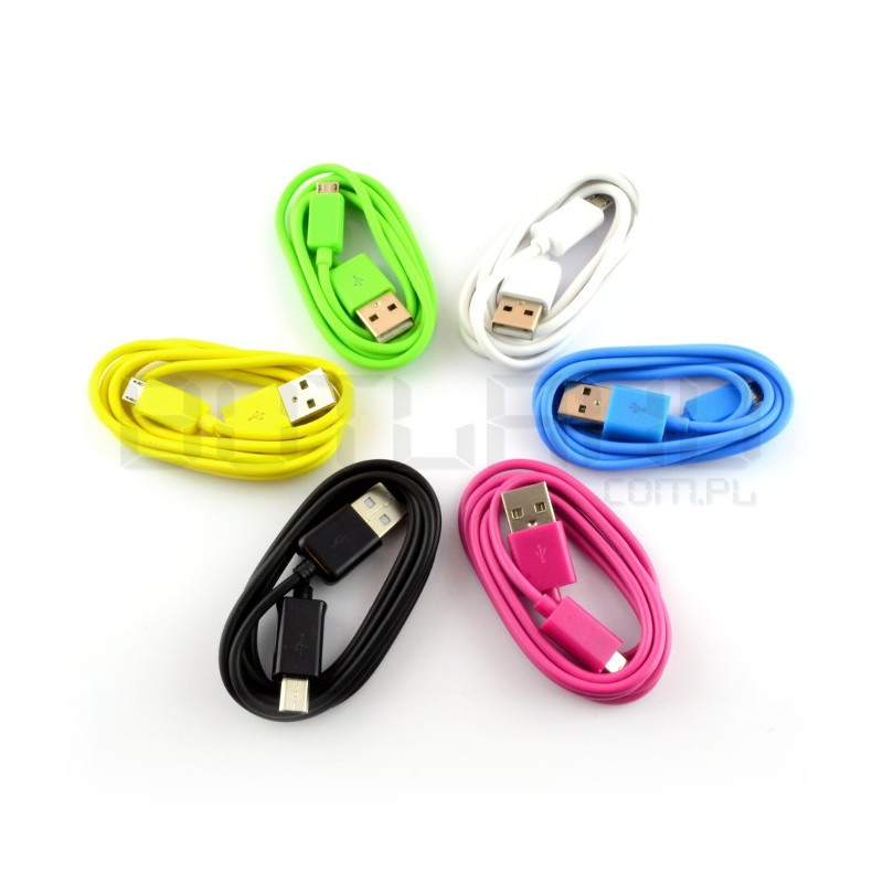 Lucky microUSB B cable - 1m - different colors