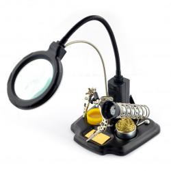Uchwyt z lupą na wysięgniku z podświetleniem LED - trzecia ręka ZD-10Y