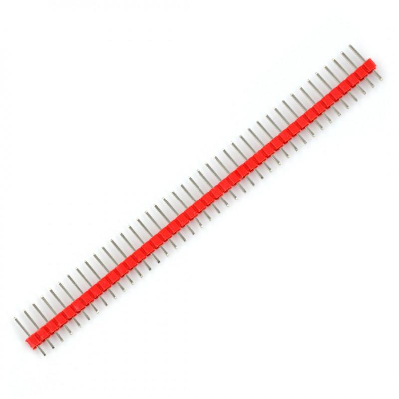 Wtyk goldpin 1x40 prosty raster 2,54mm - czerwony