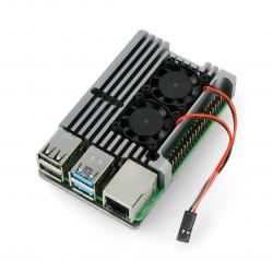 Obudowa do Raspberry Pi 4B - aluminiowa z dwoma wentylatorami - szara