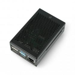 Obudowa Raspberry Pi model 4B z wentylatorem - aluminiowa - LT-4BA03 - czarna