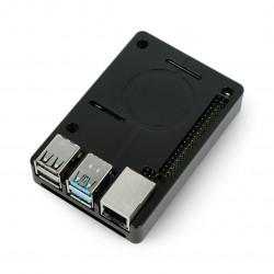 Case for Raspberry Pi 4B with fan - aluminum - LT-4BA05 - black
