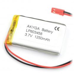 Akumulator Li-Pol Akyga 1250mAh 1S 3.7V - złącze JST-BEC + gniazdo