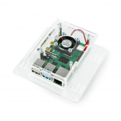 Case for Raspberry Pi 4B - acrylic Vesa V2 + fan - transparent