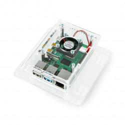 Obudowa do Raspberry Pi 4B - akrylowa Vesa V2 + wentylator - przezroczysta