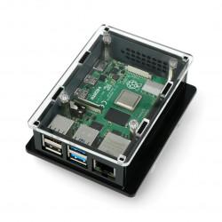 Obudowa do Raspberry Pi 4B box V2 na szynę DIN - czarno-przezroczysta