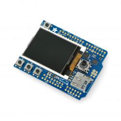 """Wyświetlacz 1.8"""" TFT z czytnikiem microSD + Joystick - Shield dla Arduino"""