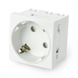 Wall socket 230V single 45x45mm 16A Schuko - white + connector