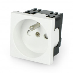 Wall socket 230V single 45x45mm 16A French - white